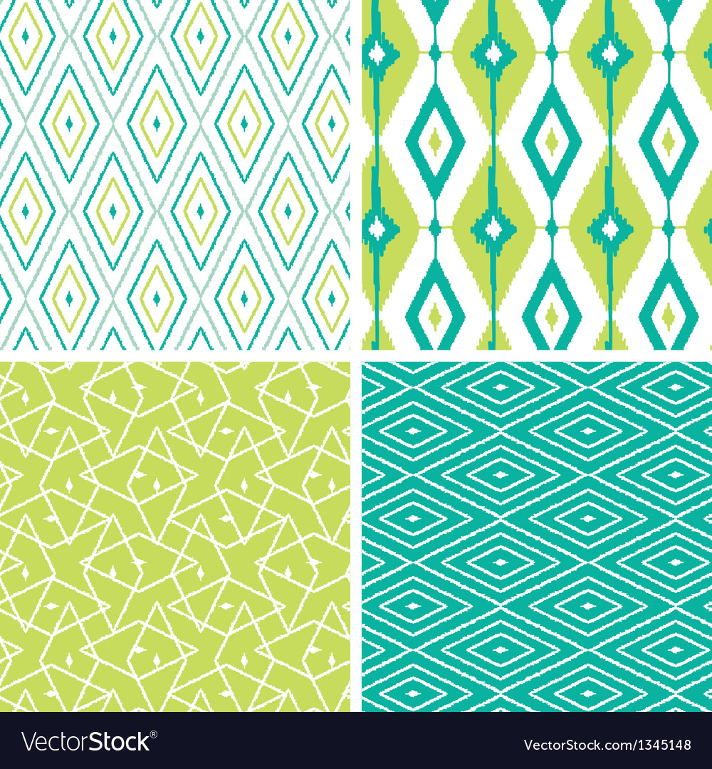 Set of green ikat diamond seamless patterns vector image