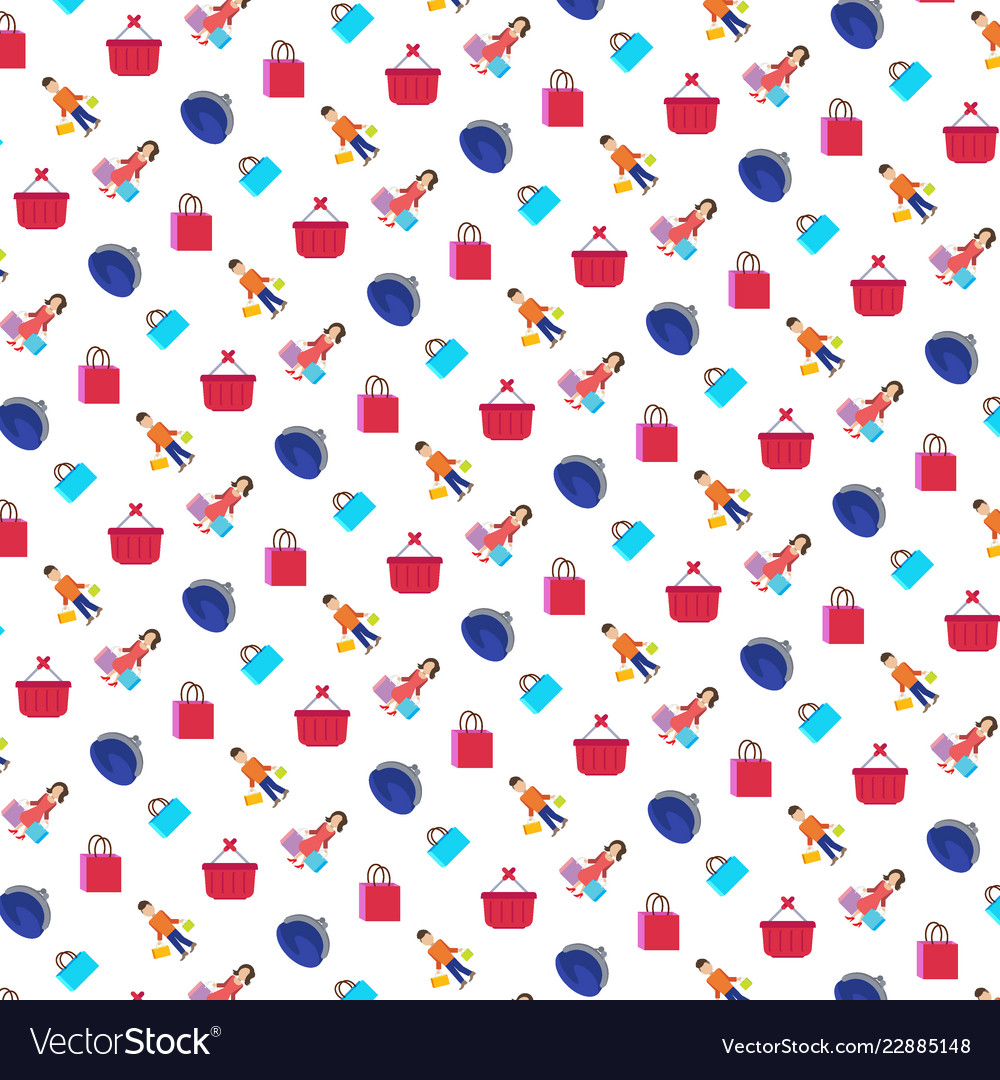 Shopping icons seamless pattern white background