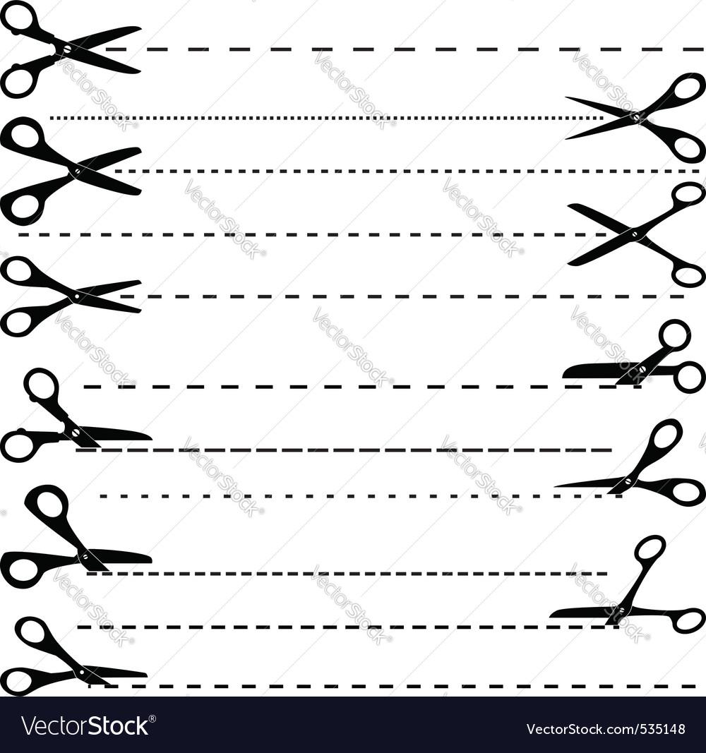 Vector set of cutting scissors vector image