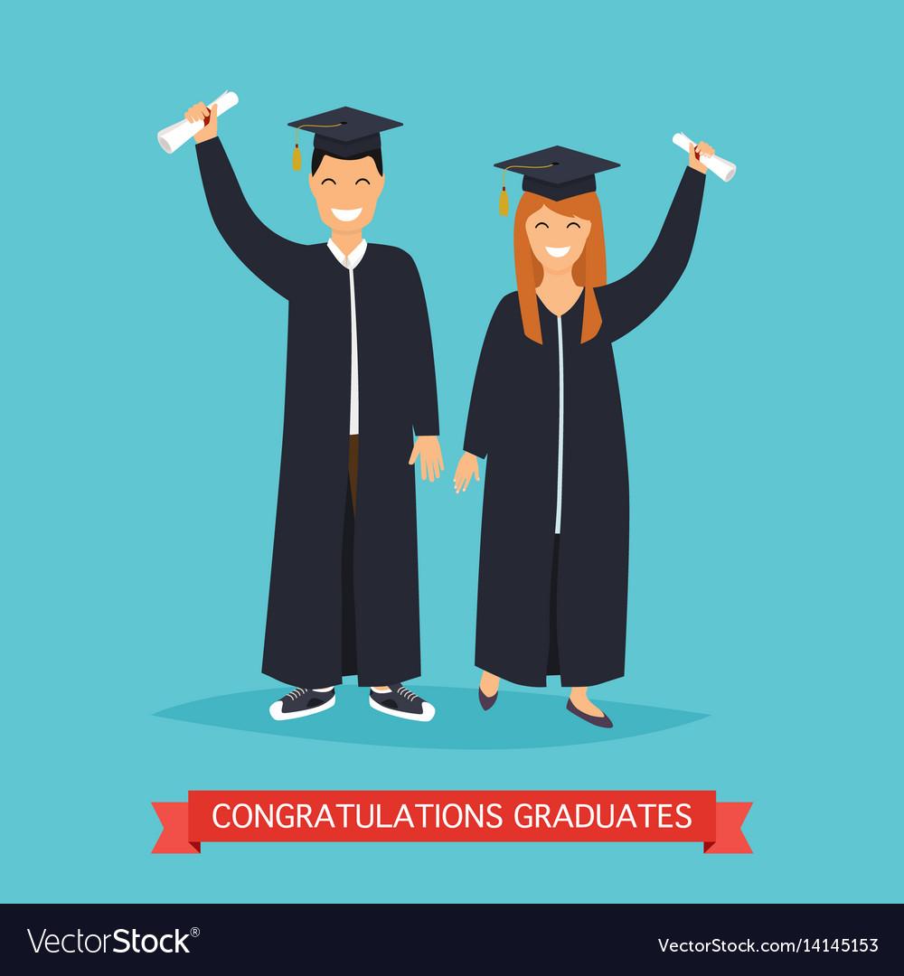 Boy and girl graduates in flat