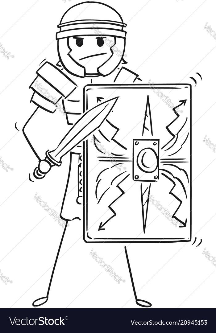 Cartoon of ancient roman legionary warrior soldier