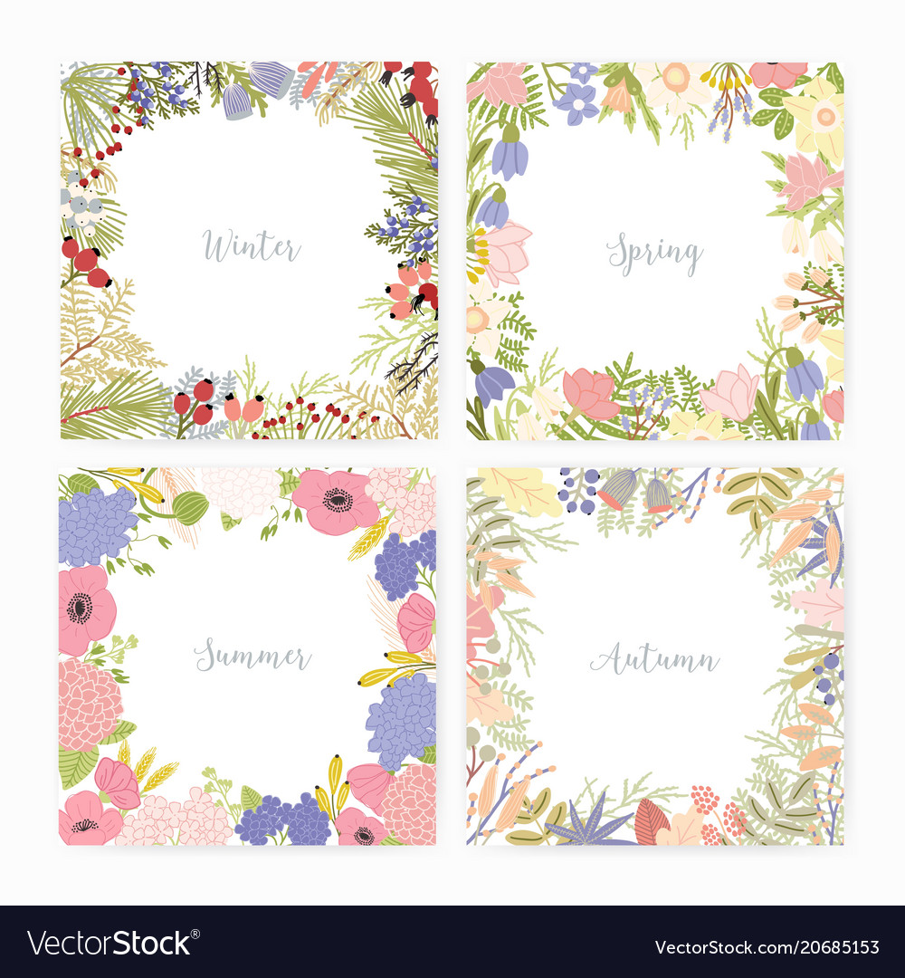 Collection of square card templates with various