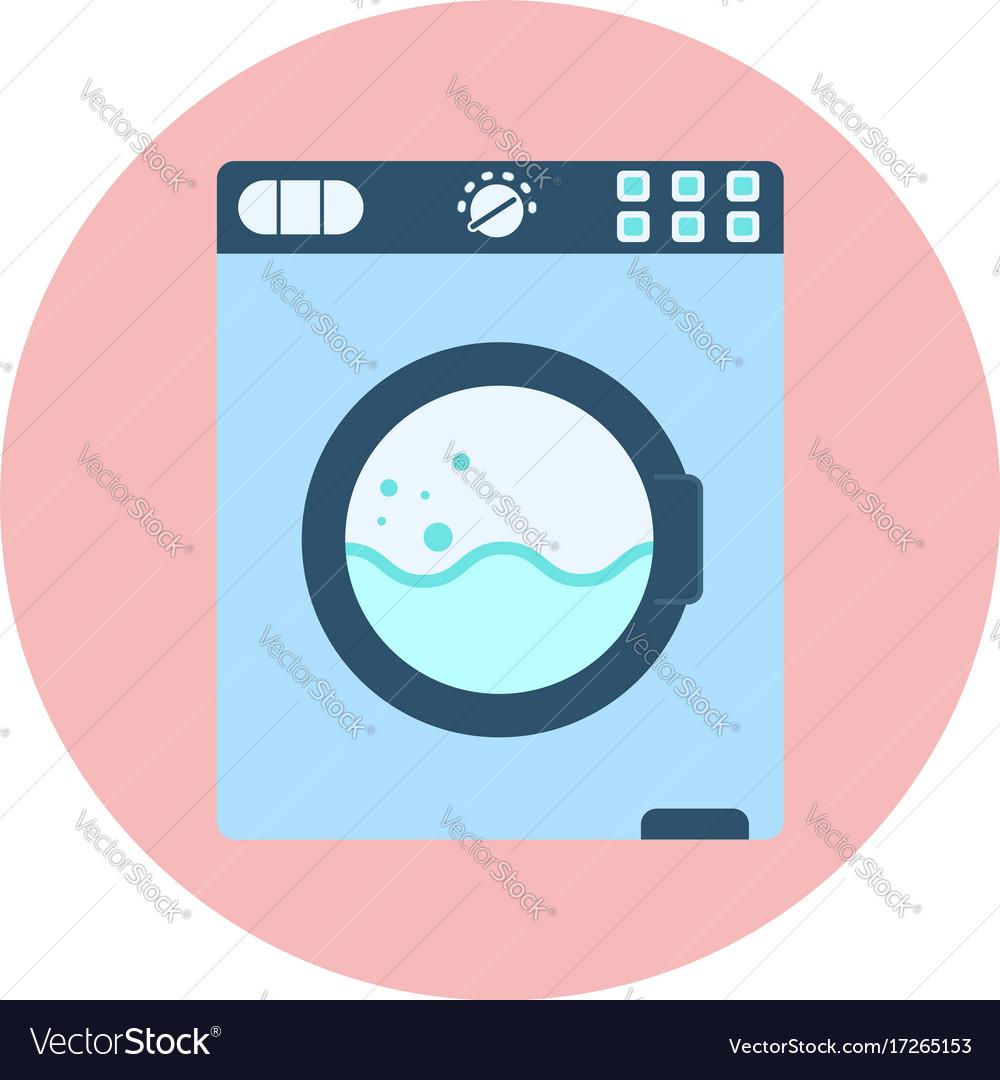 Flat blue washing machine icon washer symbol vector image