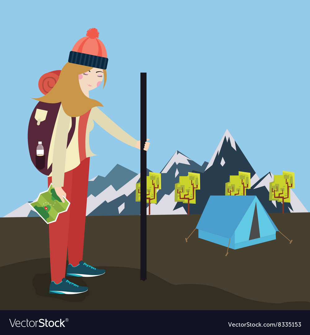Girls go hiking mouintain tent bring bag and map