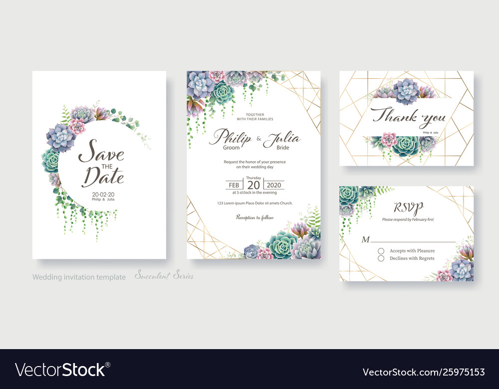 Greenery Succulent Wedding Invitation Card