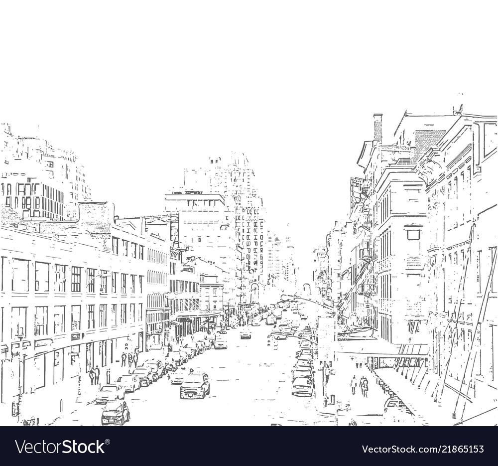 Hand drawn city iluustration