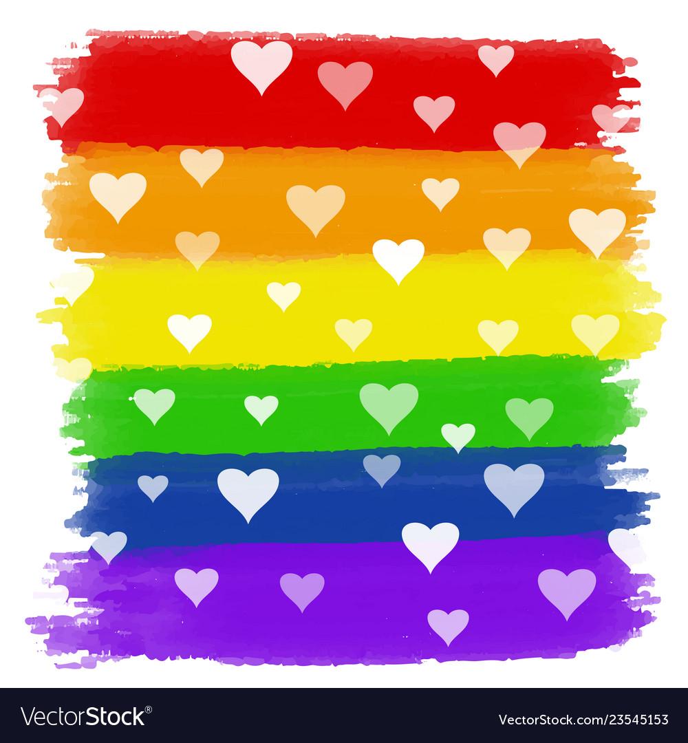 Hearts on rainbow watercolour background