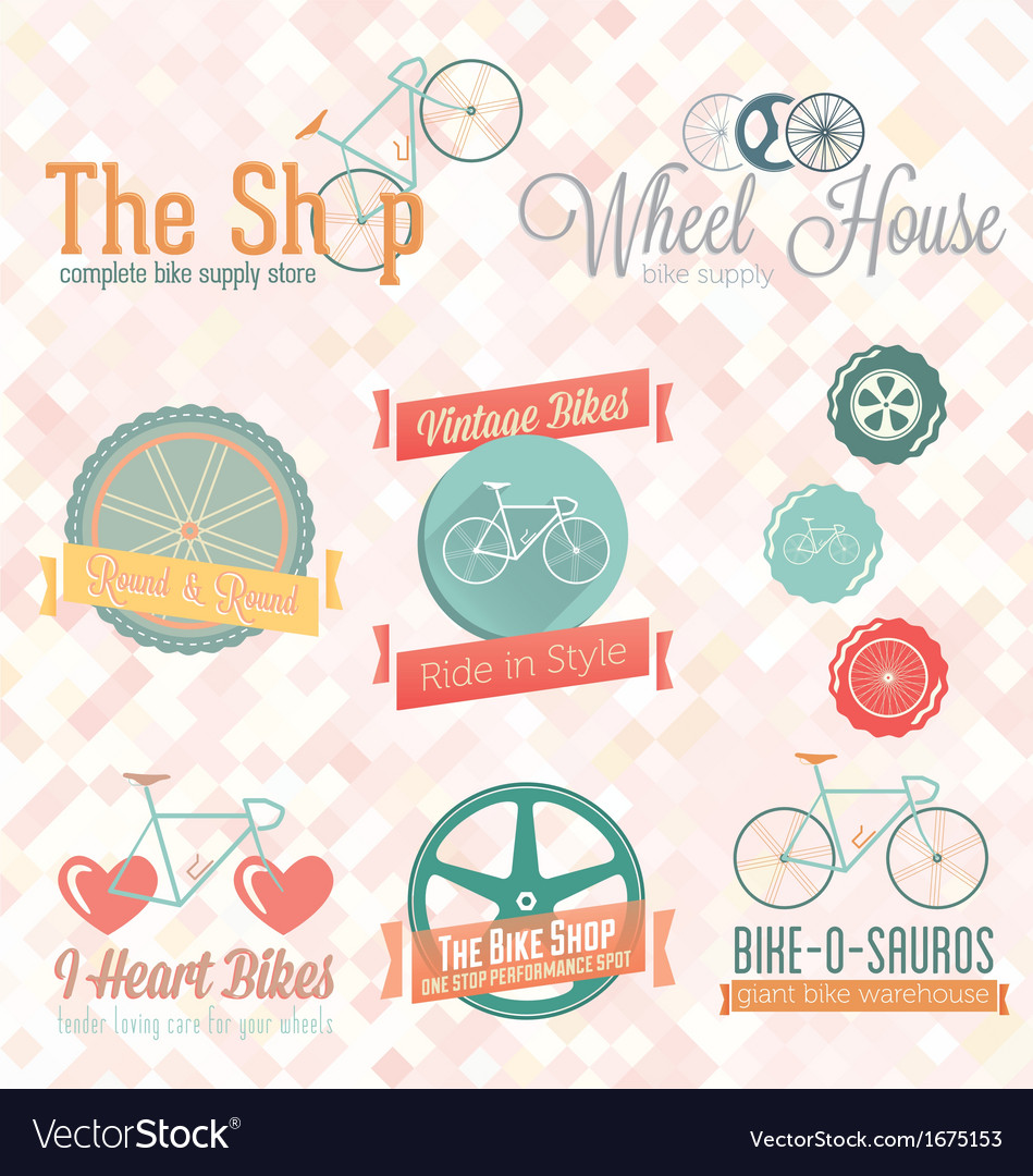 Retro Bike Shop Labels and Icons