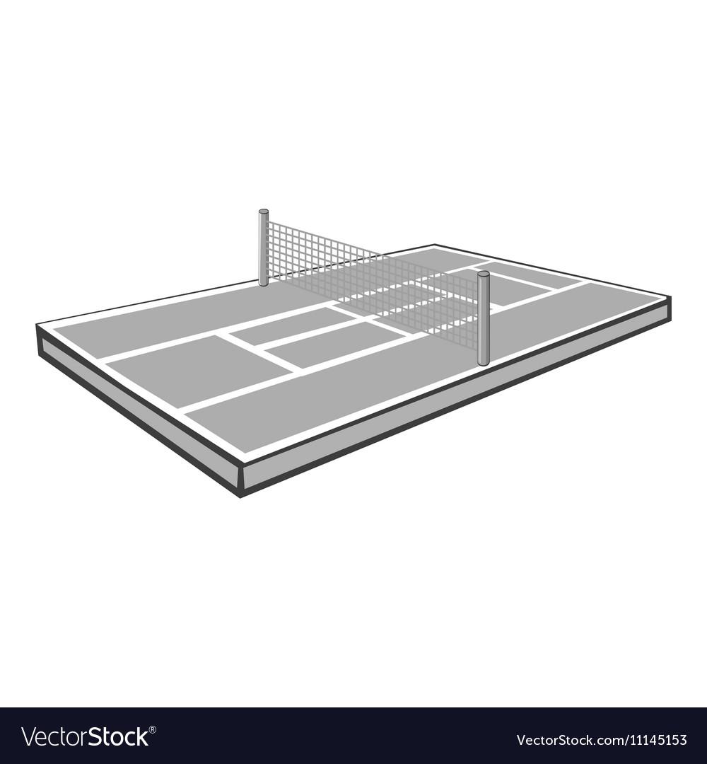 Tennis court icon gray monochrome style vector image