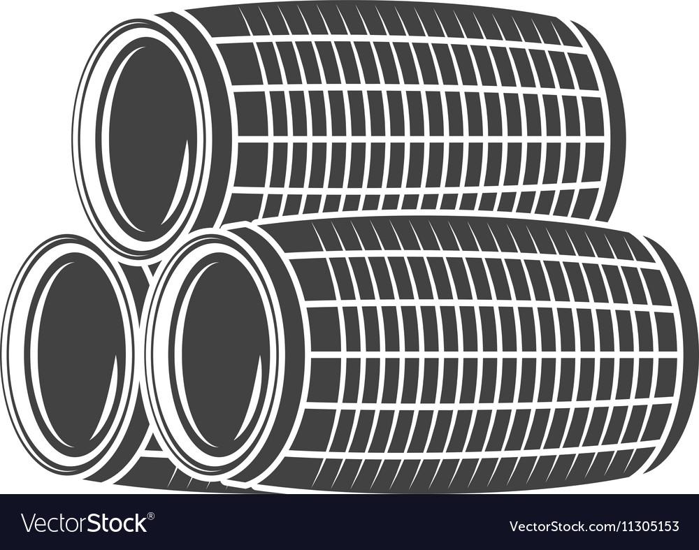 Three wine beer barrels Black icon logo element vector image
