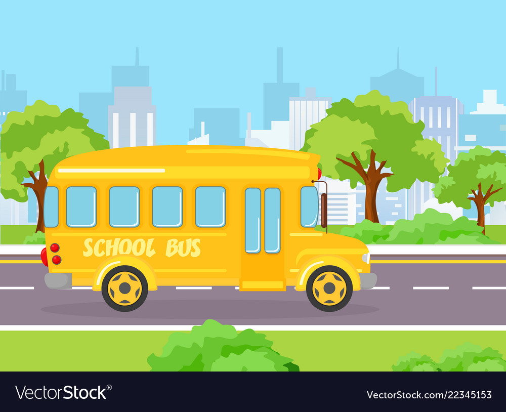 Yellow funny school bus for