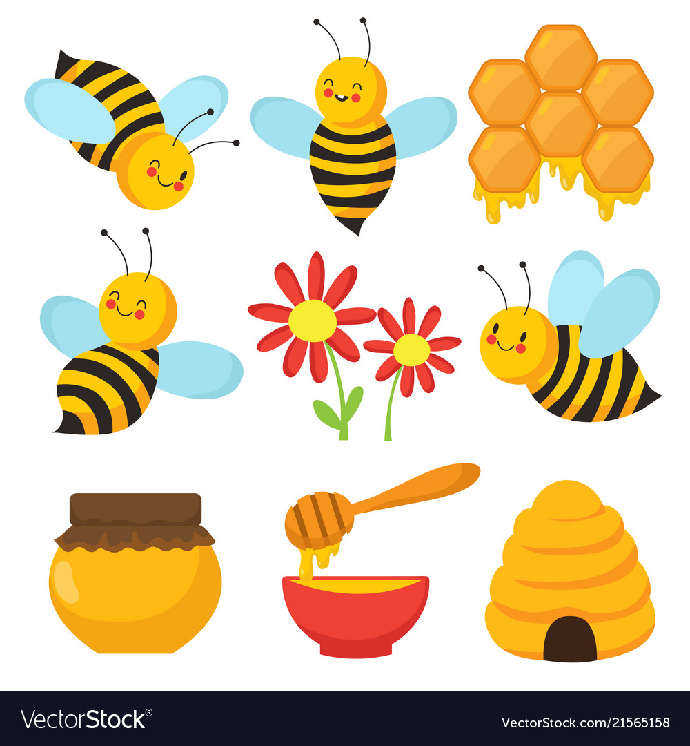 Cartoon bee cute bees flowers and honey