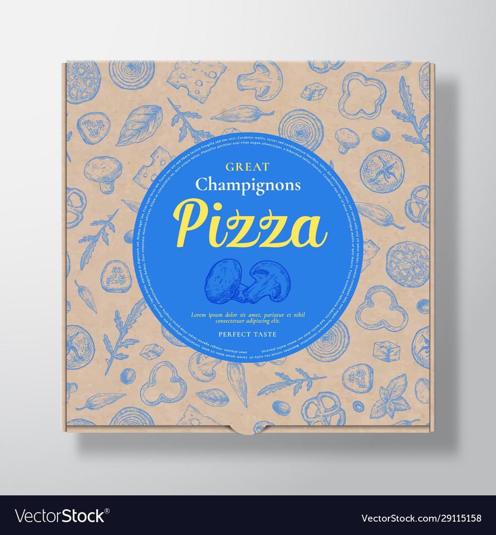 Champignons pizza realistic cardboard box