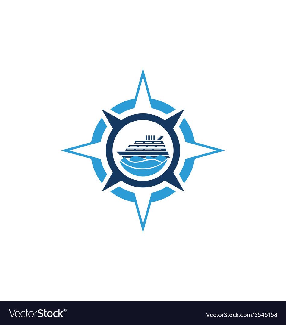Compass star boat ocean logo vector image