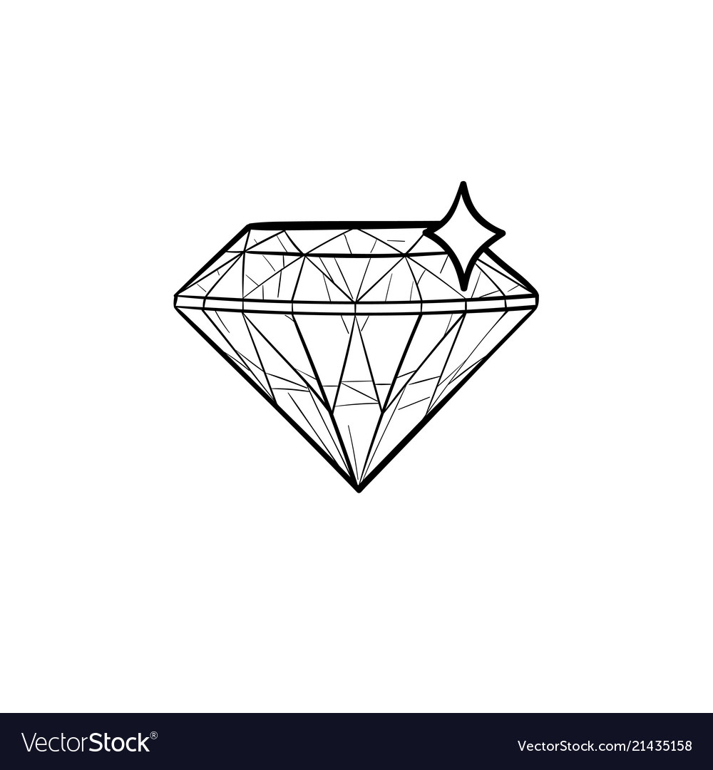 Diamond hand drawn outline doodle icon
