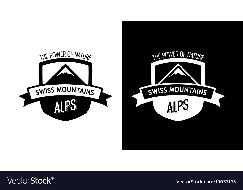 Emblem with swiss mountains