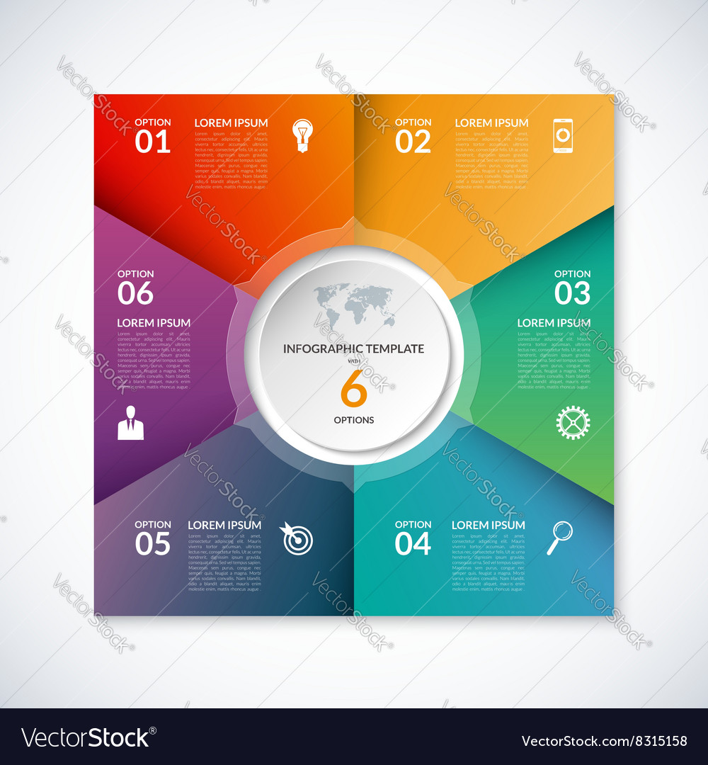 Infographic square template with 6 options