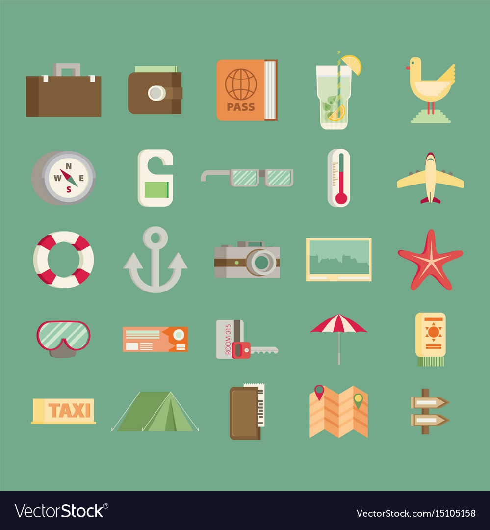Modern flat icons collection in stylish colors of