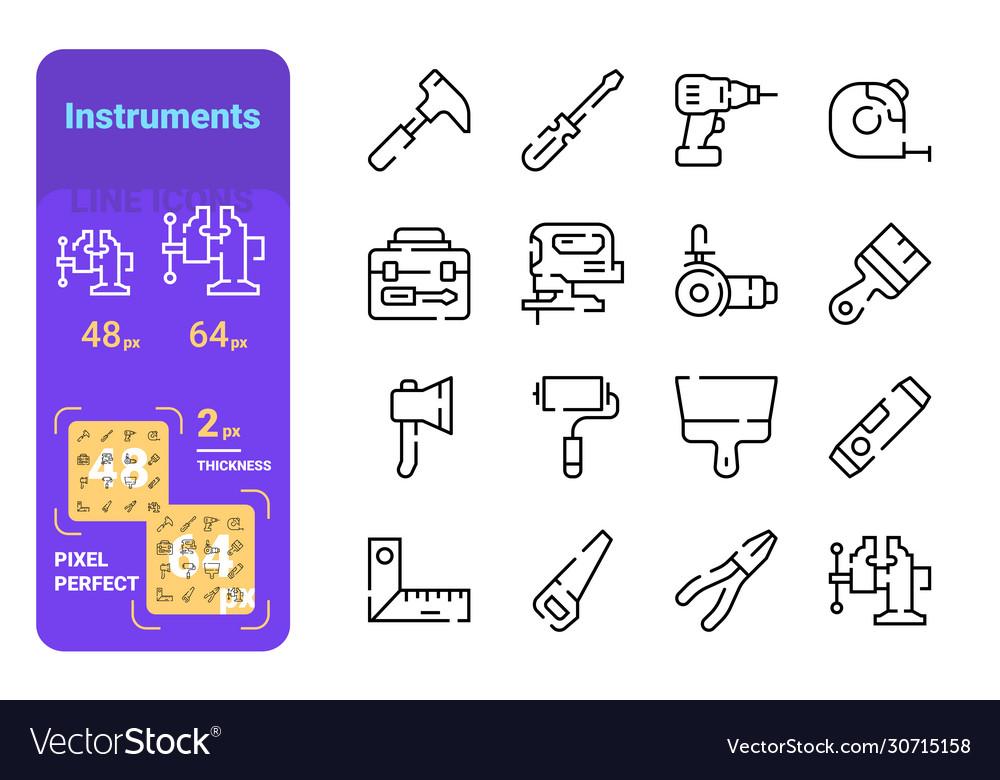 Set instruments simple lines icons measure