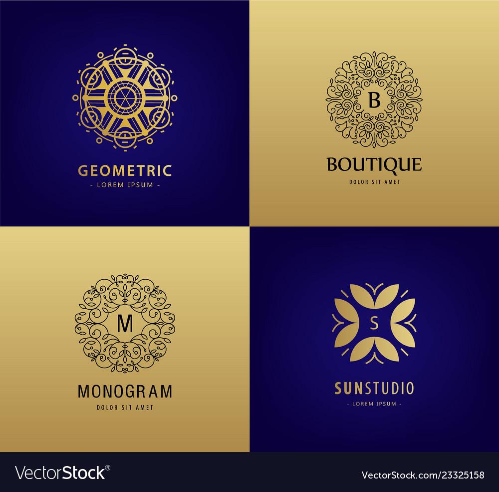 Set luxury monogram vintage logos