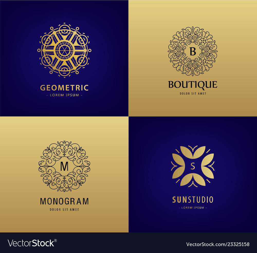 Set of luxury monogram vintage logos