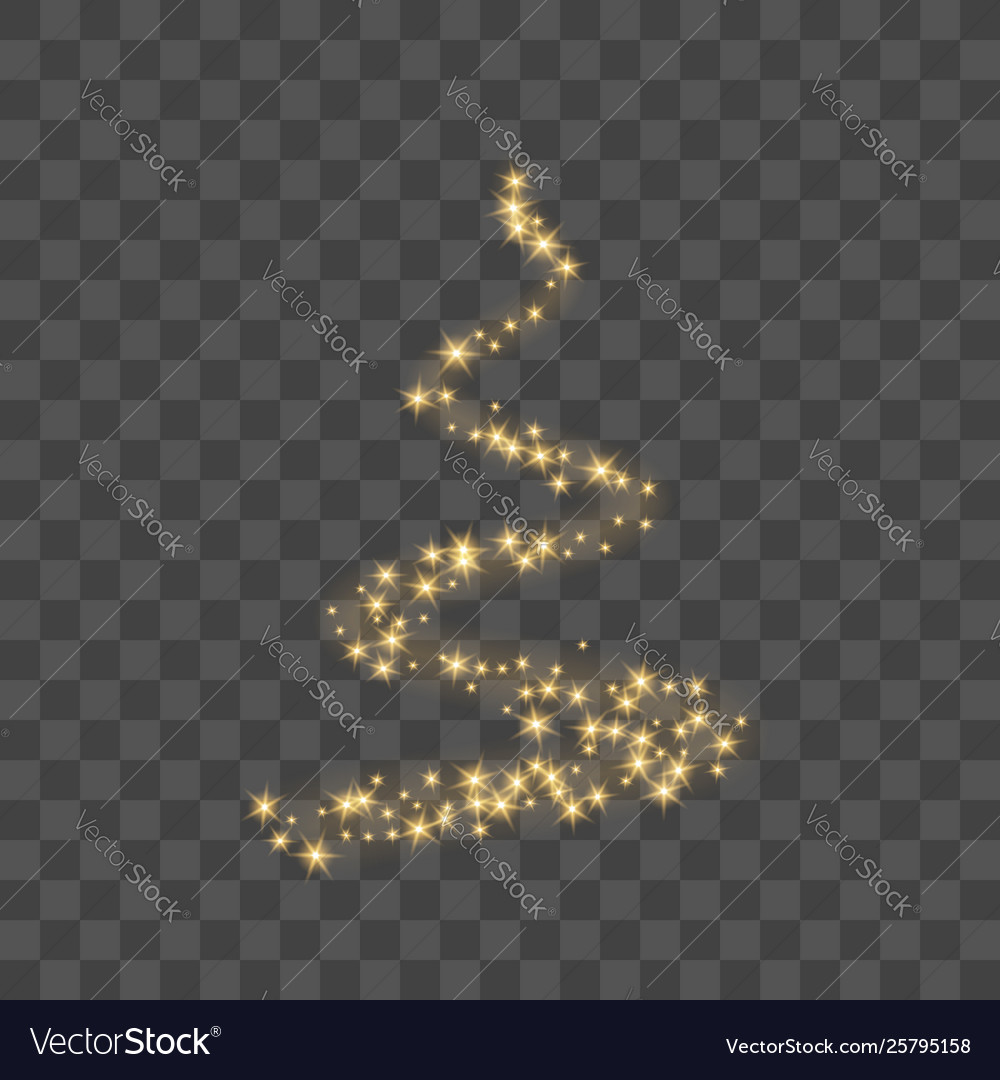 Stylized gold christmas tree as symbol happy