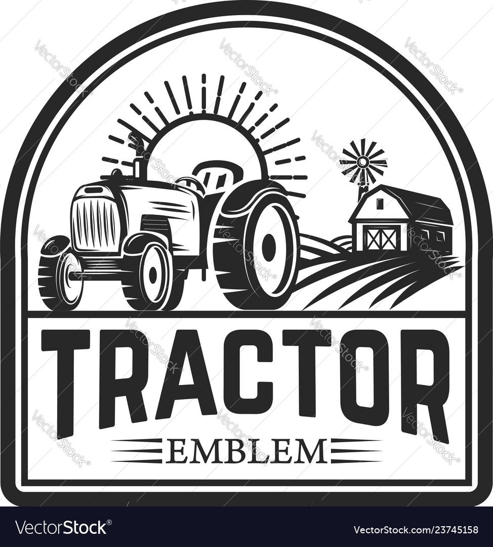 Tractor emblem farmers market design element for