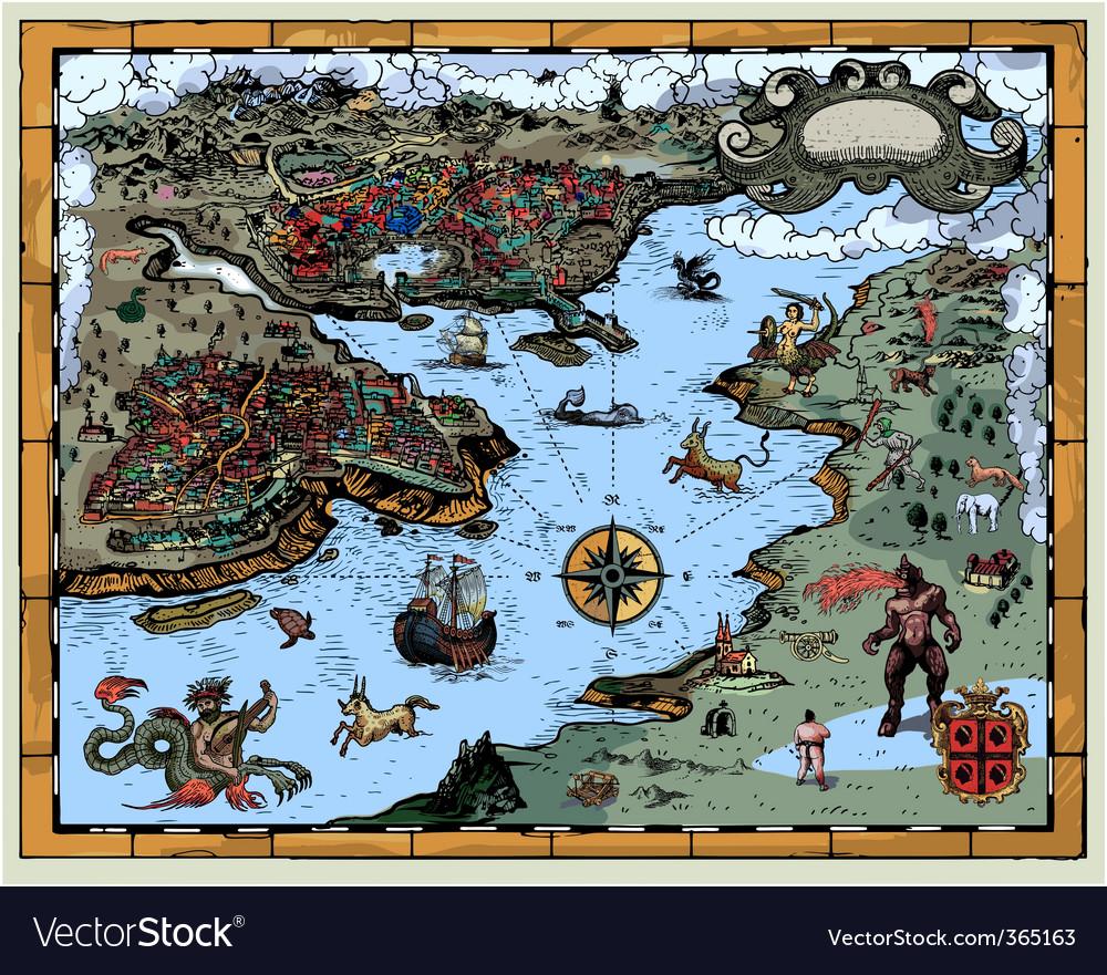 Antique fantasy map royalty free vector image vectorstock antique fantasy map vector image gumiabroncs Gallery
