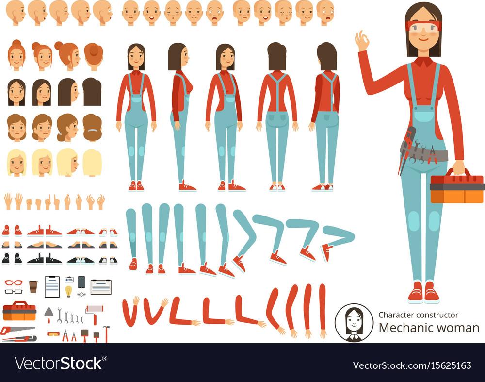 Big creation kit of girl mechanic in working vector image