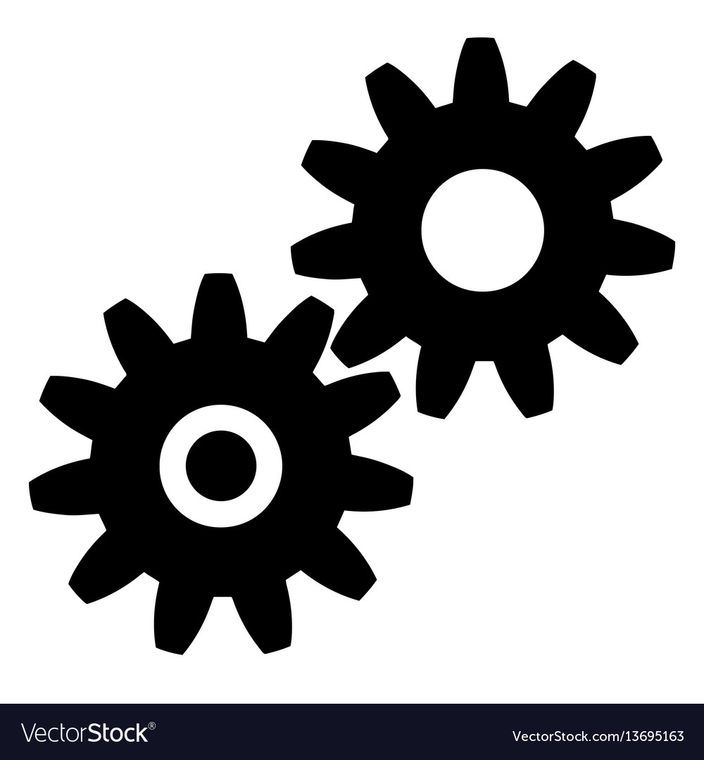 Black gears icon on white background eps vector image