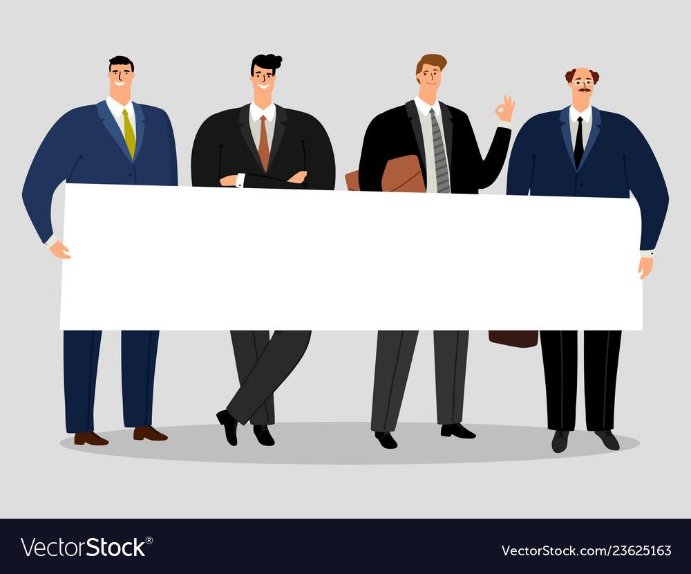 Businessmen holding banner group of male
