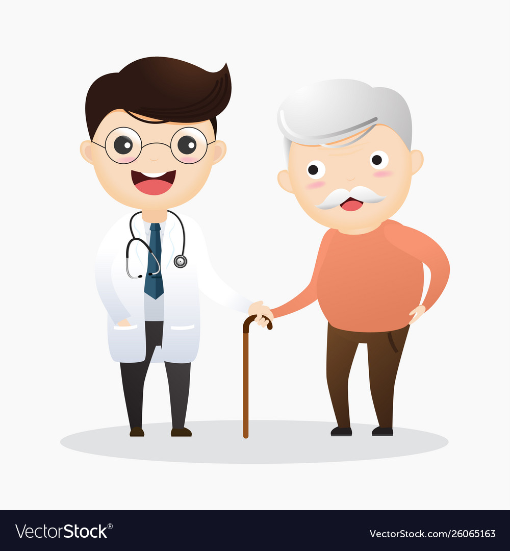Caring for elderly doctor and and old man