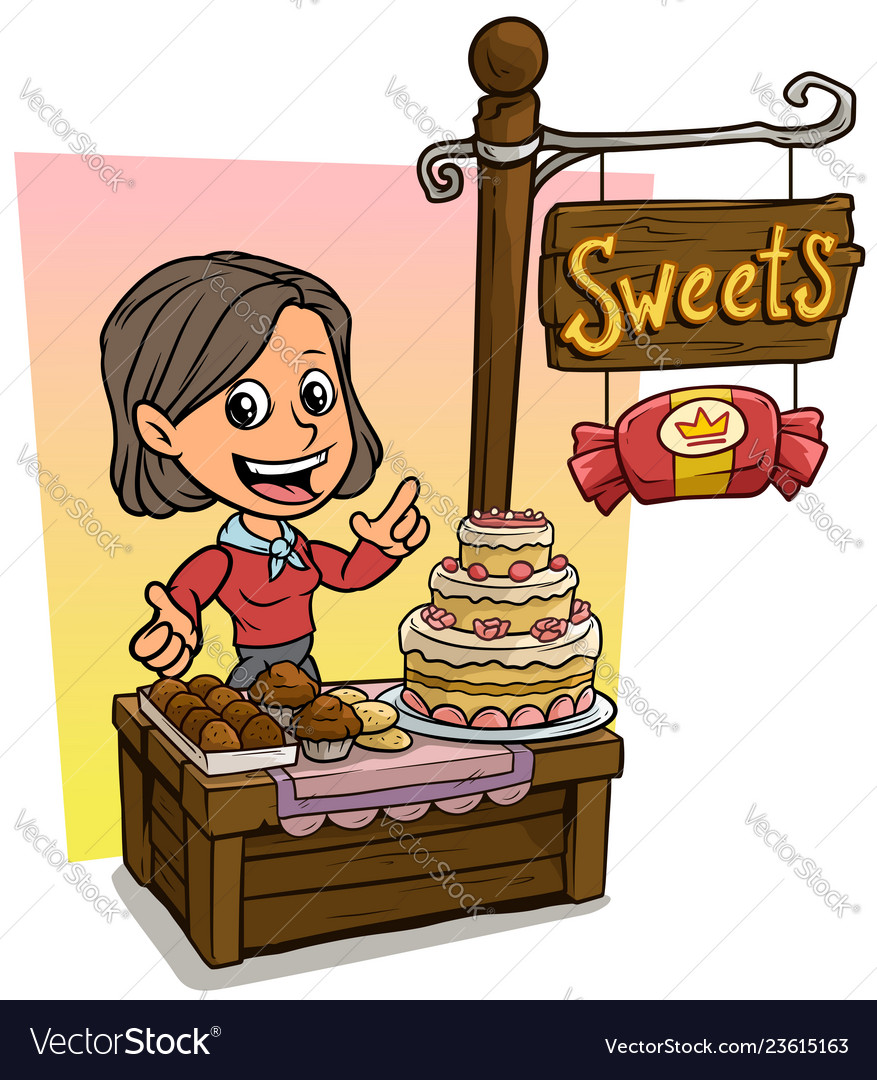 Cartoon girl character and wooden candy shop