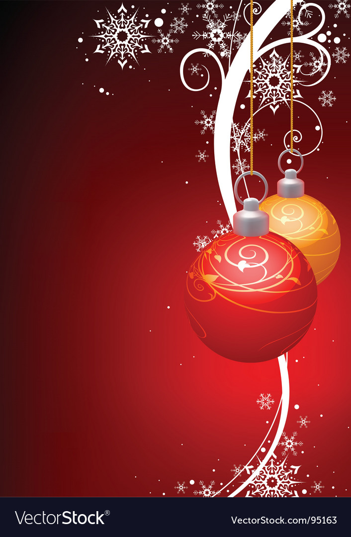 Christmas balls and winter floral vector image