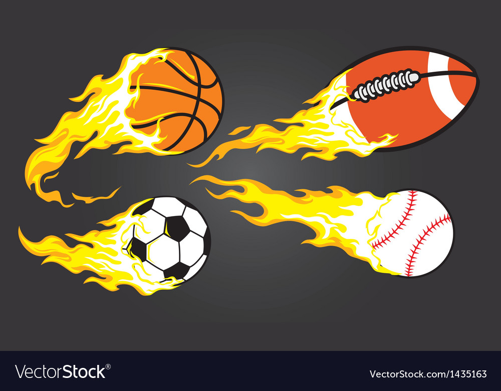 Collection burning sports ball