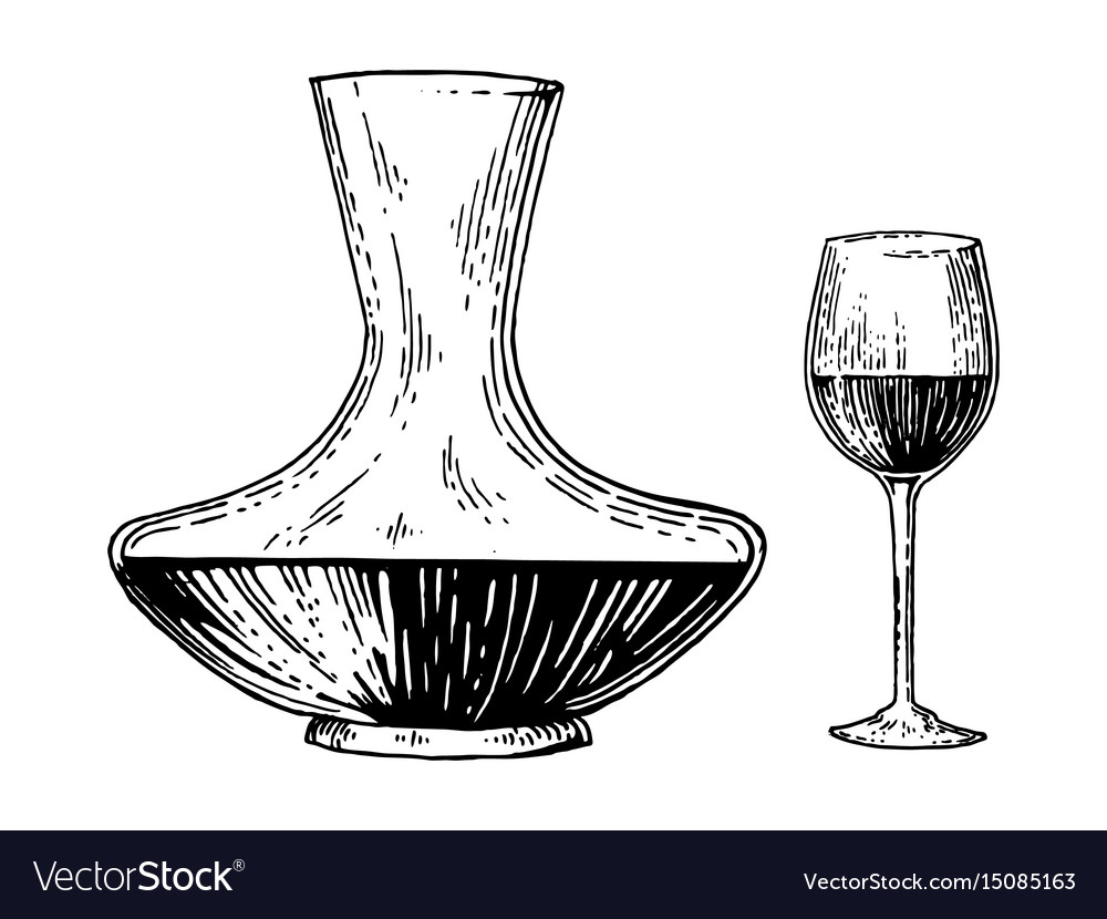 Decanter and wine engraving style vector image