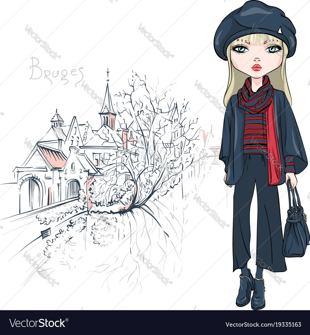212cdeb9bc07 Fashion girl in winter clothes in bruges Vector Image