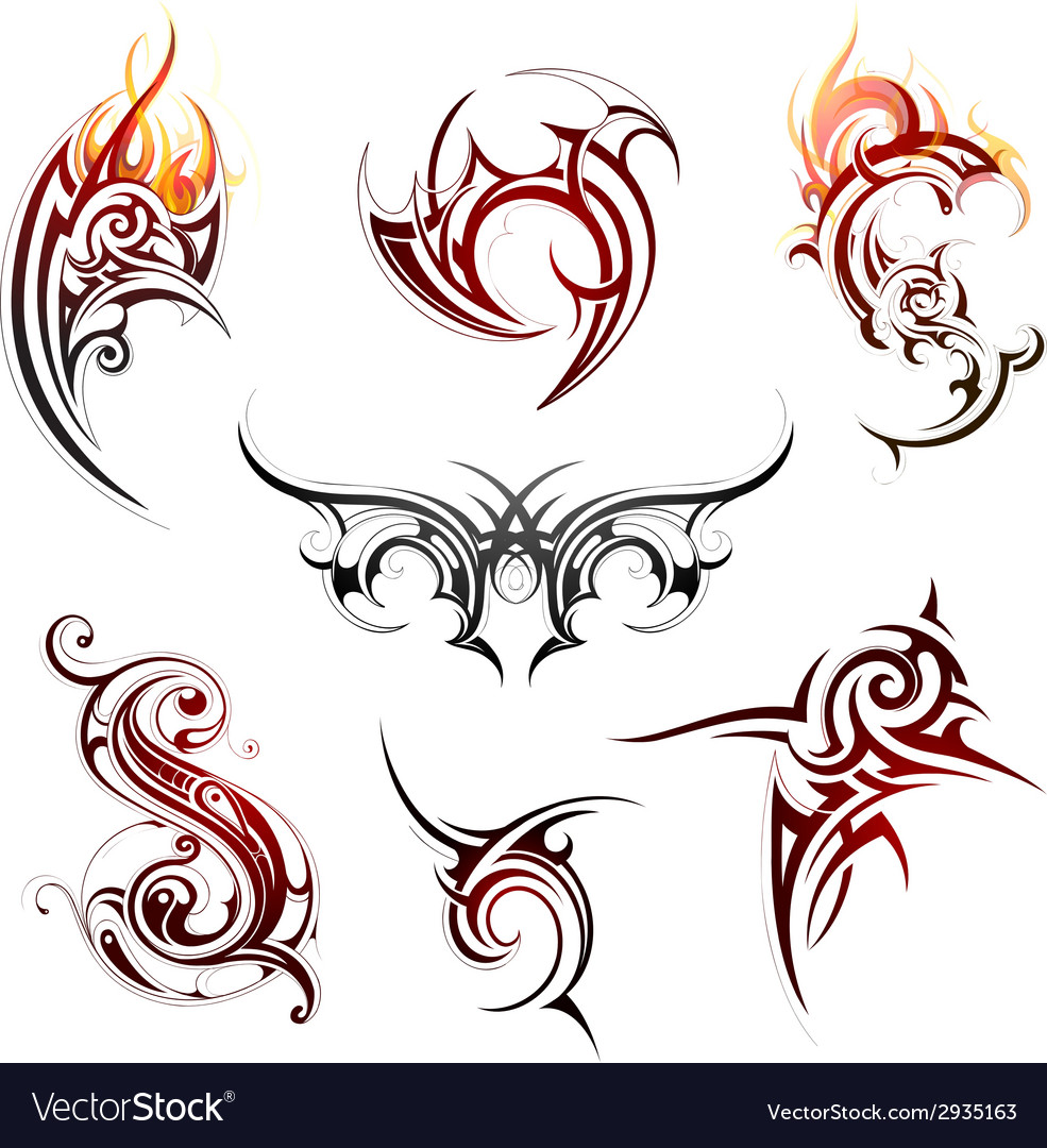 Fire flame tattoo set