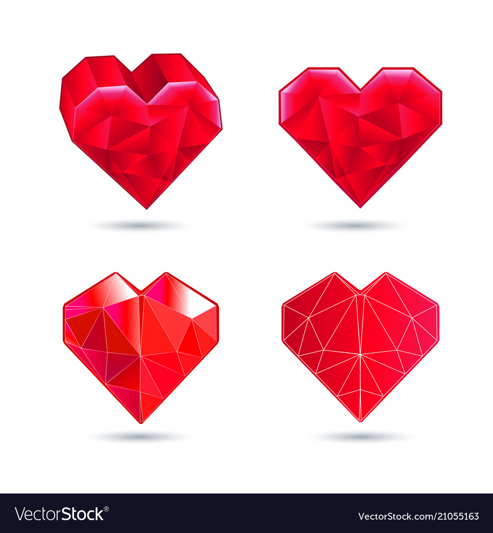 Hearts set color icon red heart in the vector image