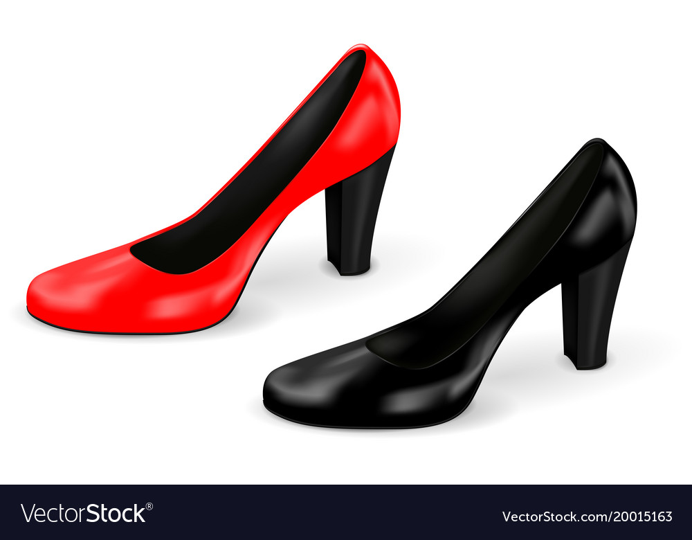 High heel black and red women shoes vector image