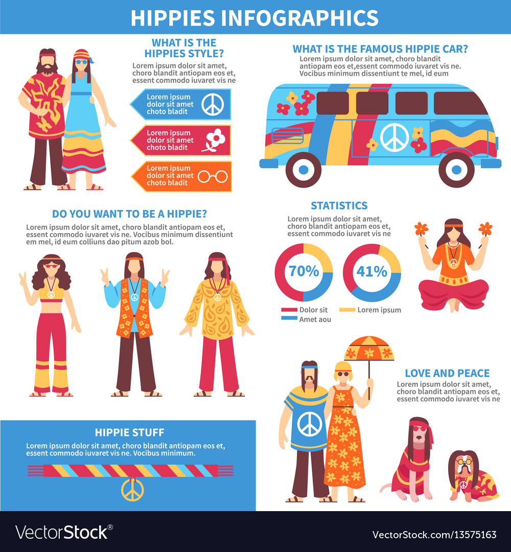 Hippie infographics flat layout vector image