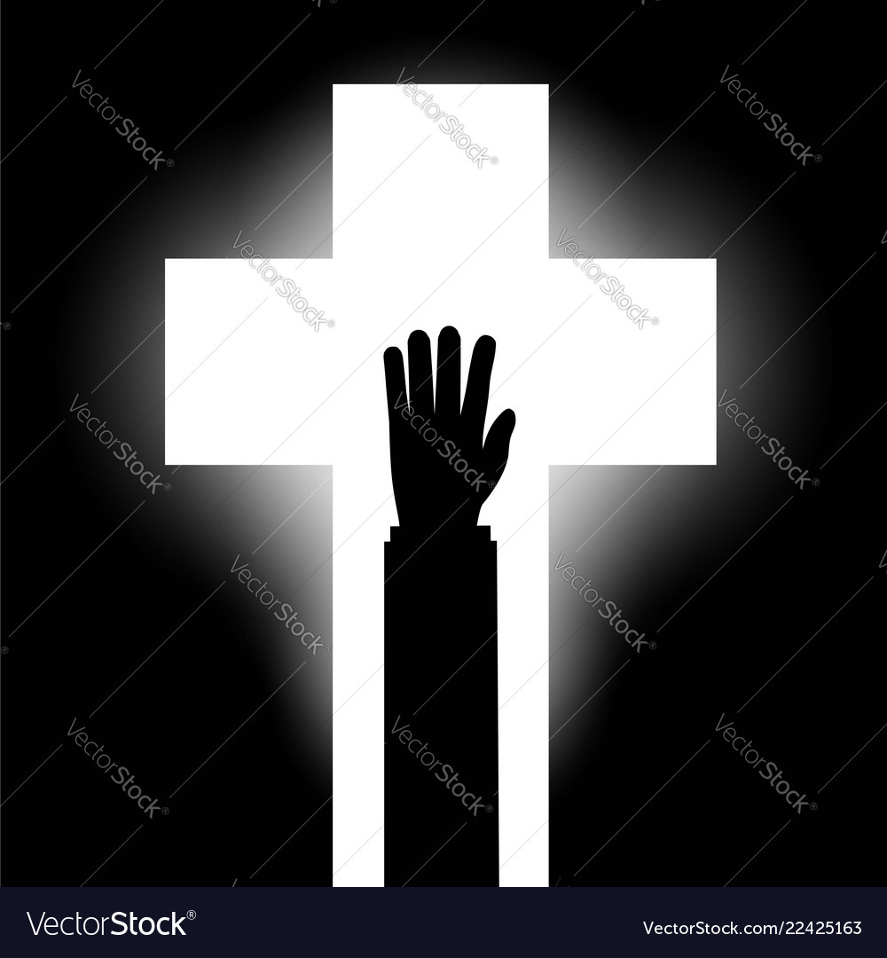 Human hand on the background of the religious