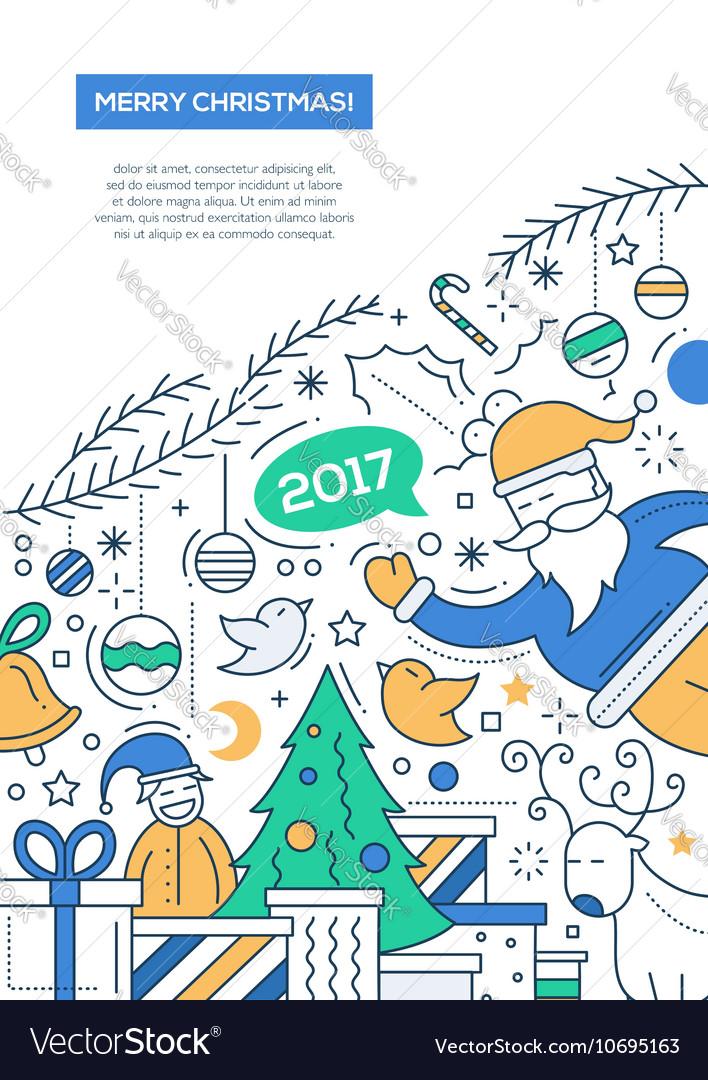 Merry Christmas - line design brochure poster