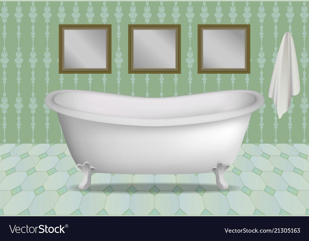Retro Bathtub Concept Background Realistic Style