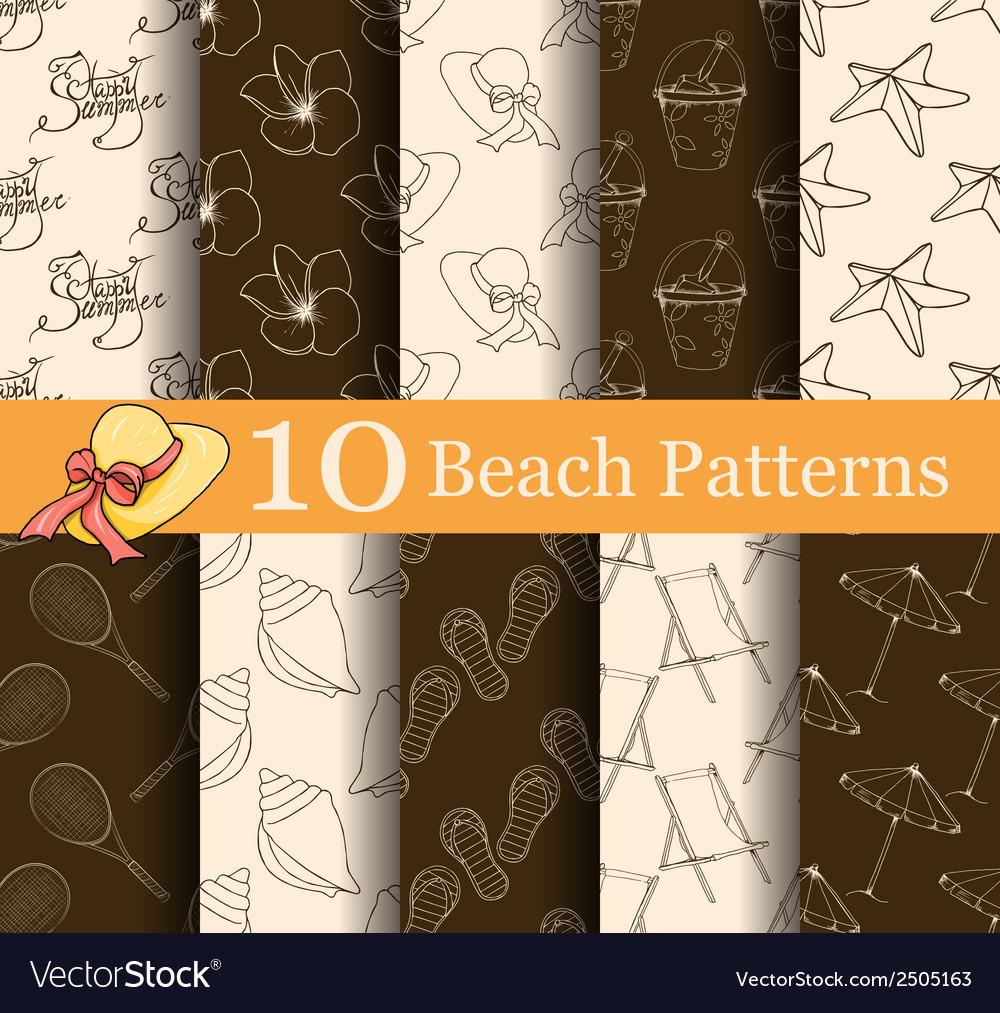 Set of 10 summer seamless patterns