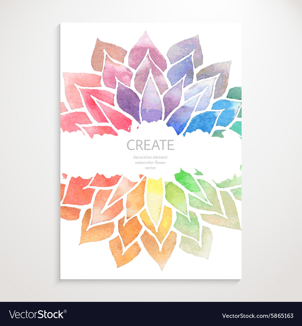Watercolor rainbow flowers Poster