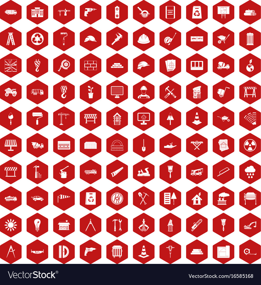 100 construction site icons hexagon red vector image