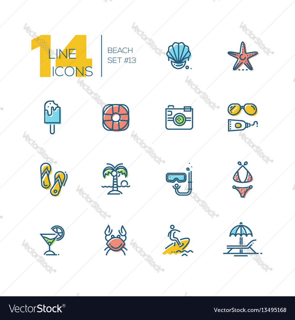 At the beach - thick line icons set
