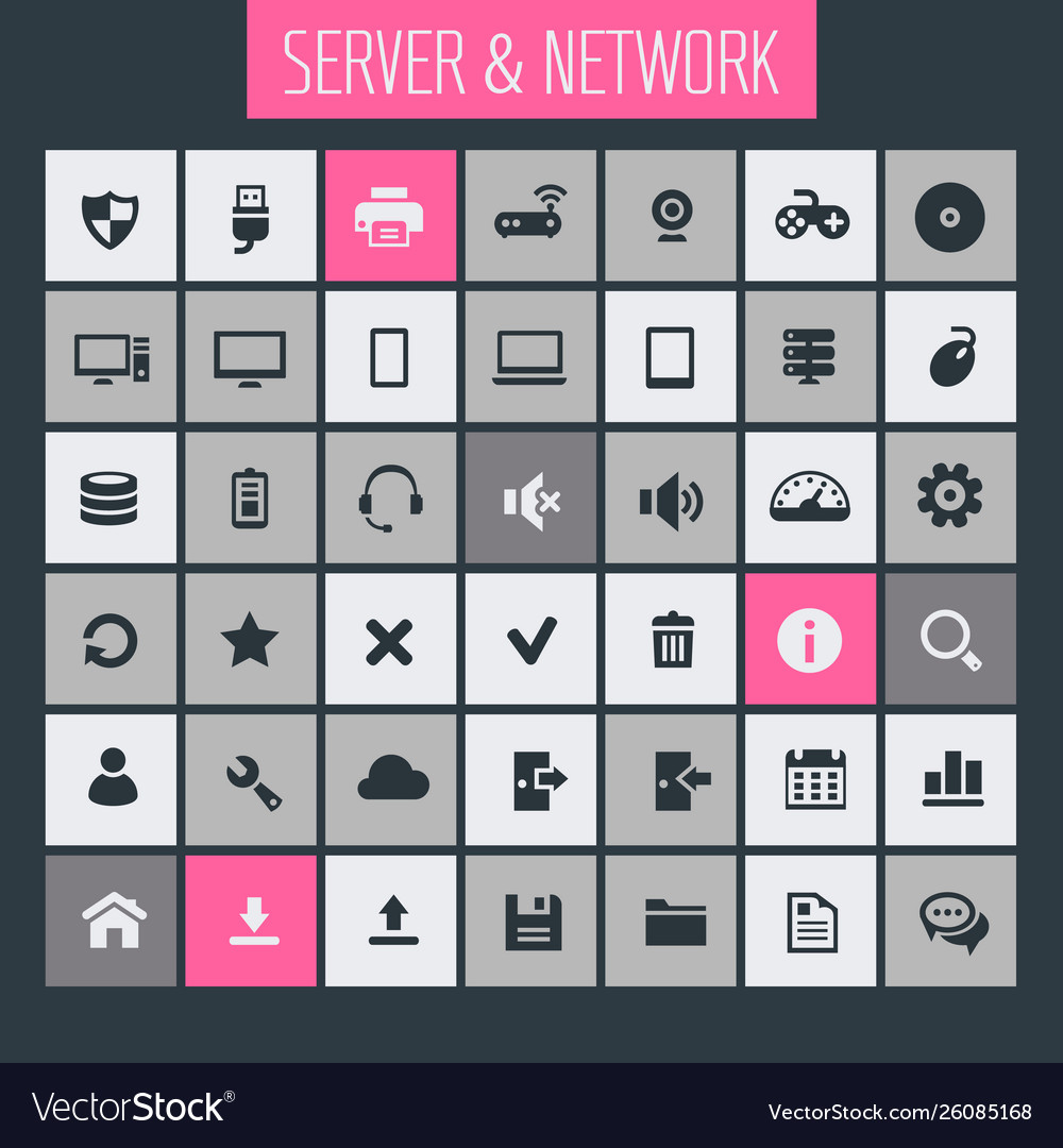 Big computer networks icon set trendy line icons