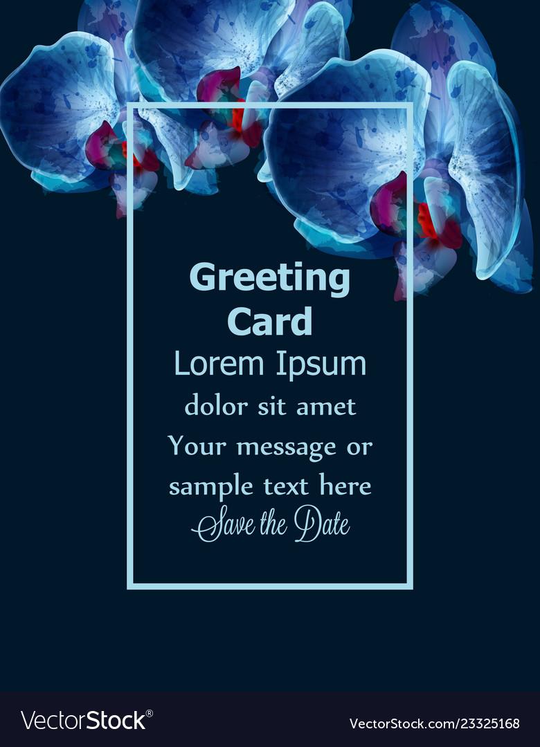 Blue orchids watercolor card invitation
